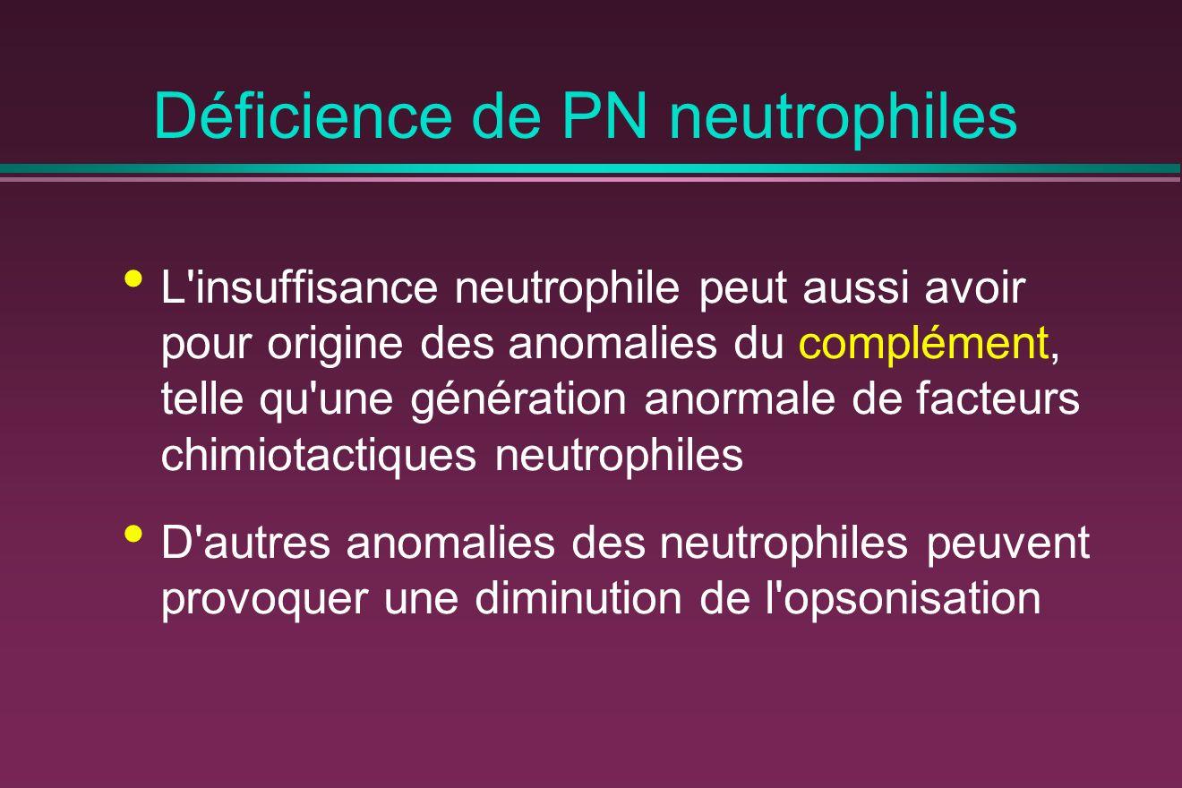 Déficience de PN neutrophiles L insuffisance neutrophile peut aussi avoir pour origine des anomalies du complément, telle qu une génération anormale de facteurs chimiotactiques neutrophiles D autres anomalies des neutrophiles peuvent provoquer une diminution de l opsonisation