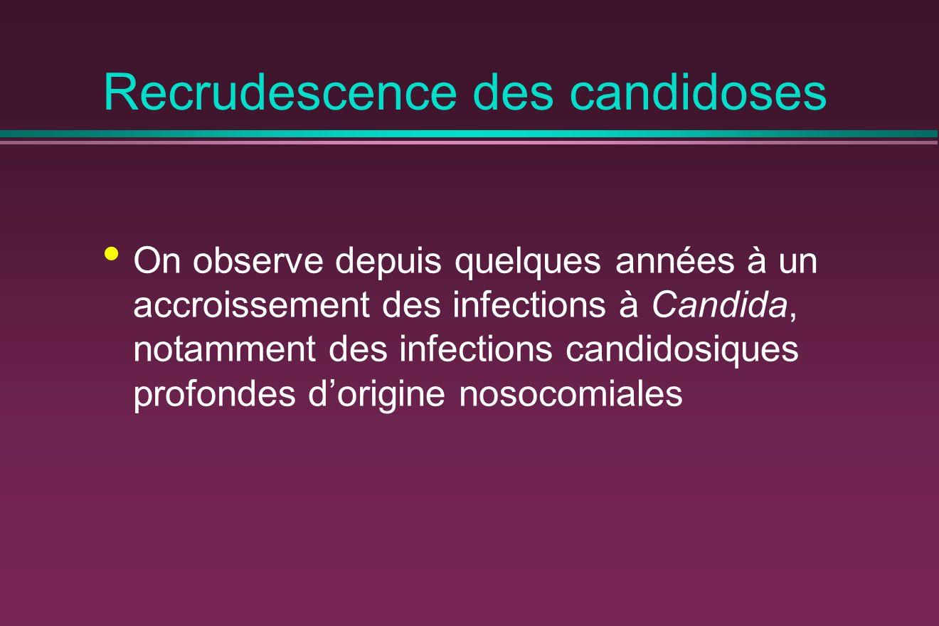 Recrudescence des candidoses On observe depuis quelques années à un accroissement des infections à Candida, notamment des infections candidosiques profondes dorigine nosocomiales