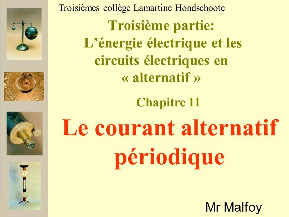 II Caractéristiques dune tension alternative 1) La tension maximale Retracez en rouge le motif (qui se reproduit) du signal précédent (souvenez vous de vos frises en CP !!!).