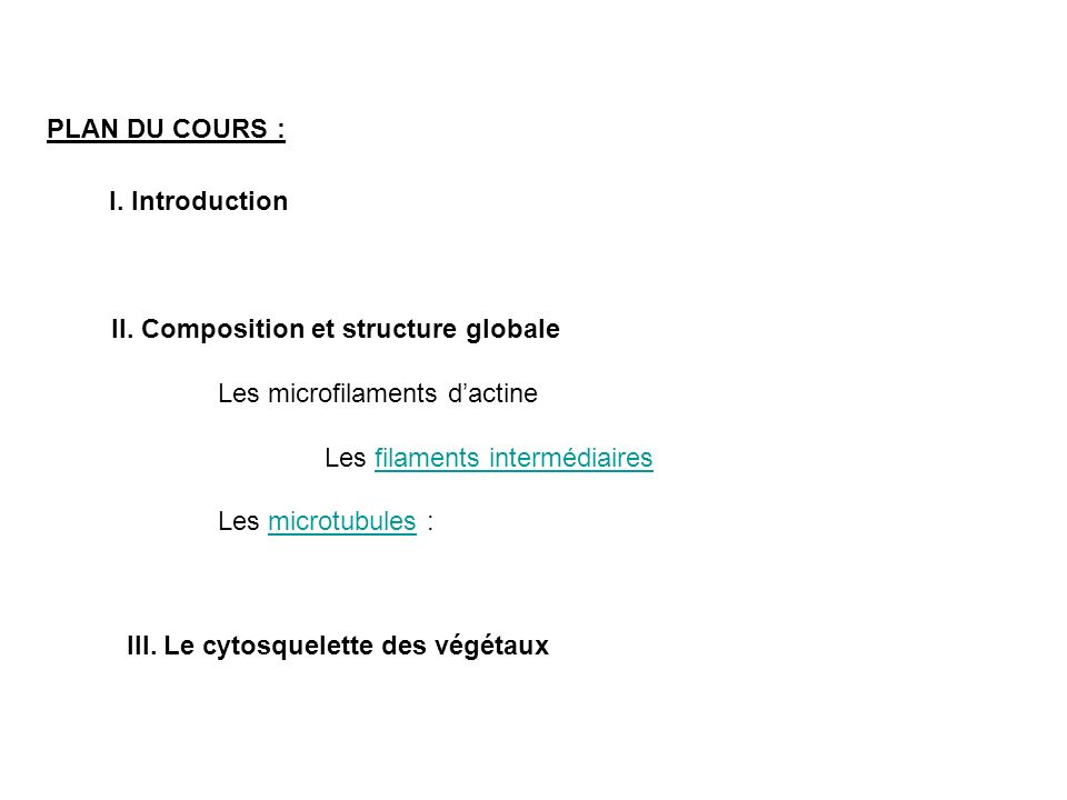 PLAN DU COURS : I.Introduction II.