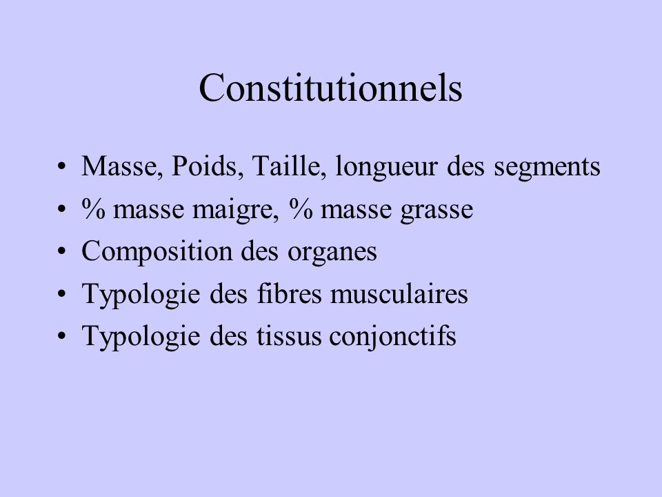 FACTEURS CONSTITUTIONNELS