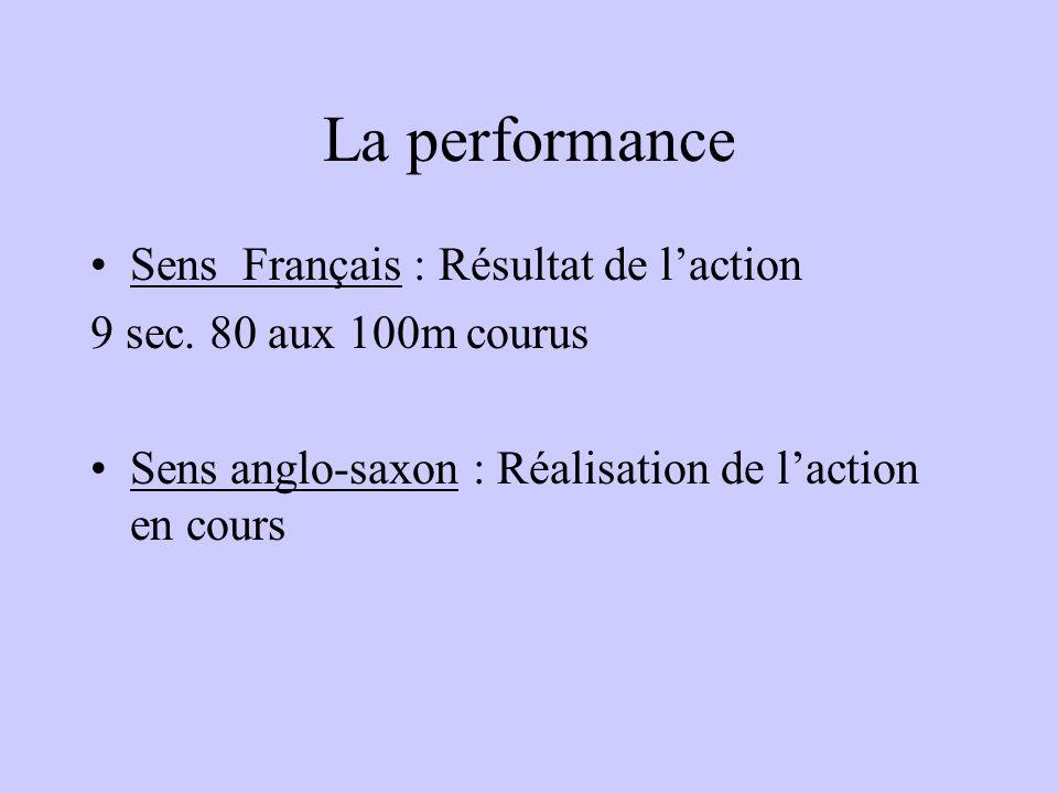 La performance Sens Français : Résultat de laction 9 sec.