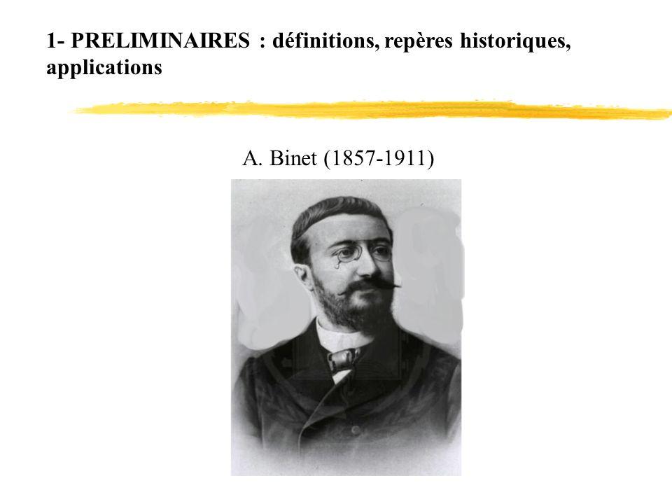 1- PRELIMINAIRES : définitions, repères historiques, applications A. Binet (1857-1911)