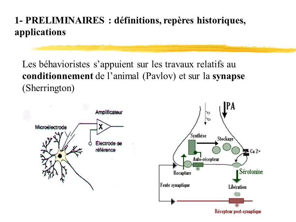 1- PRELIMINAIRES : définitions, repères historiques, applications Les béhavioristes sappuient sur les travaux relatifs au conditionnement de lanimal (