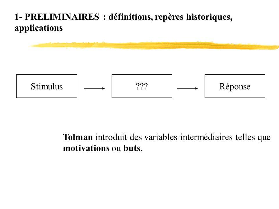1- PRELIMINAIRES : définitions, repères historiques, applications Stimulus???Réponse Tolman introduit des variables intermédiaires telles que motivati