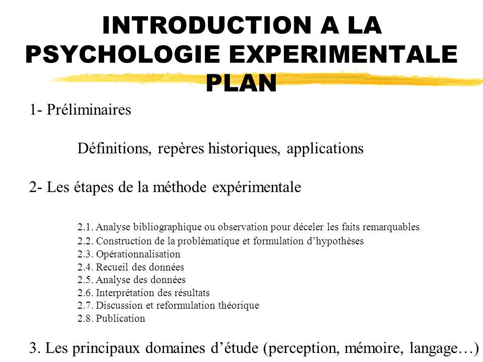 INTRODUCTION A LA PSYCHOLOGIE EXPERIMENTALE PLAN 1- Préliminaires Définitions, repères historiques, applications 2- Les étapes de la méthode expérimen