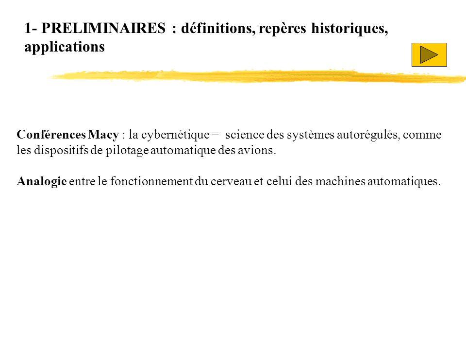 1- PRELIMINAIRES : définitions, repères historiques, applications Conférences Macy : la cybernétique = science des systèmes autorégulés, comme les dis