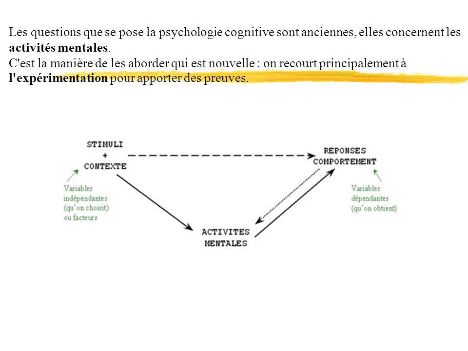 Les questions que se pose la psychologie cognitive sont anciennes, elles concernent les activités mentales. C'est la manière de les aborder qui est no