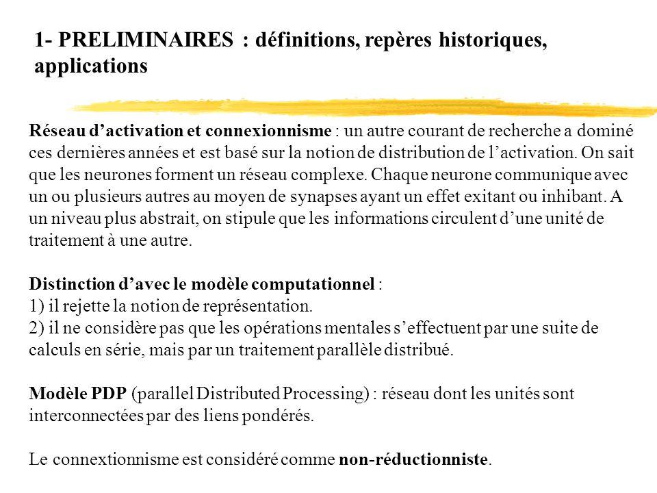 1- PRELIMINAIRES : définitions, repères historiques, applications Réseau dactivation et connexionnisme : un autre courant de recherche a dominé ces de