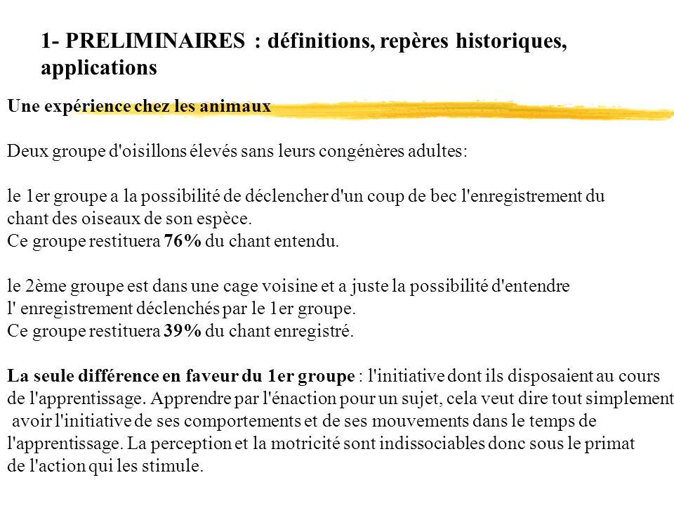 1- PRELIMINAIRES : définitions, repères historiques, applications Une expérience chez les animaux Deux groupe d'oisillons élevés sans leurs congénères
