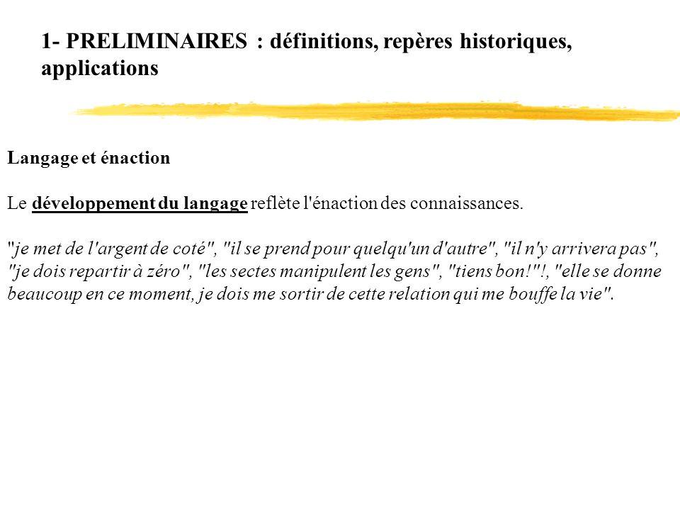 Langage et énaction Le développement du langage reflète l'énaction des connaissances.
