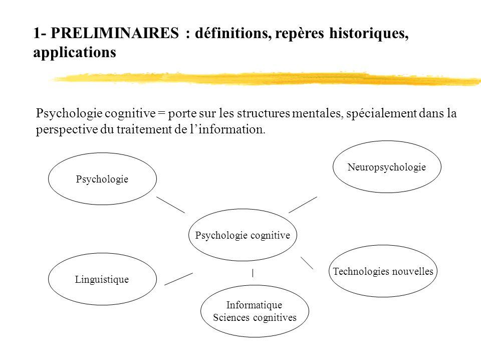 1- PRELIMINAIRES : définitions, repères historiques, applications Psychologie cognitive = porte sur les structures mentales, spécialement dans la pers