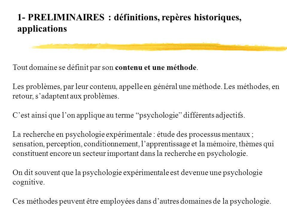 1- PRELIMINAIRES : définitions, repères historiques, applications Tout domaine se définit par son contenu et une méthode. Les problèmes, par leur cont