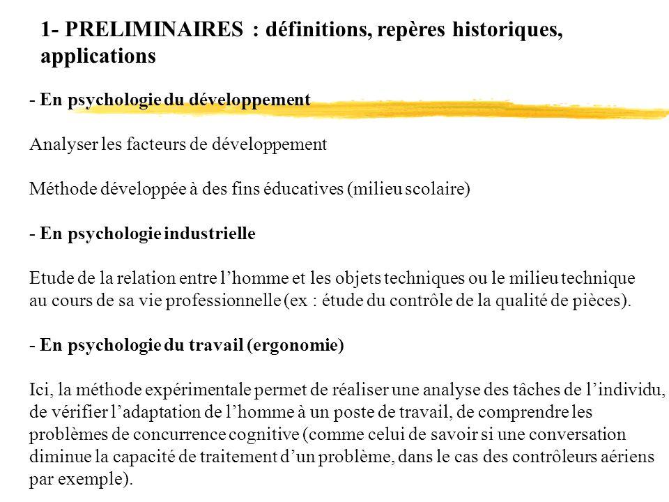 1- PRELIMINAIRES : définitions, repères historiques, applications - En psychologie du développement Analyser les facteurs de développement Méthode dév
