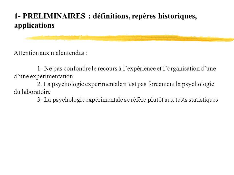 1- PRELIMINAIRES : définitions, repères historiques, applications Rappelons-en l essentiel.