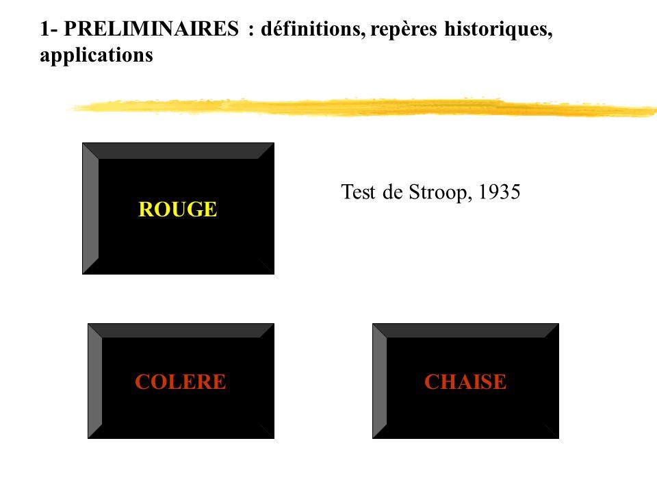 1- PRELIMINAIRES : définitions, repères historiques, applications ROUGE COLERE Test de Stroop, 1935 CHAISE