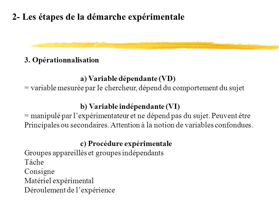 2- Les étapes de la démarche expérimentale 3. Opérationnalisation a) Variable dépendante (VD) = variable mesurée par le chercheur, dépend du comportem