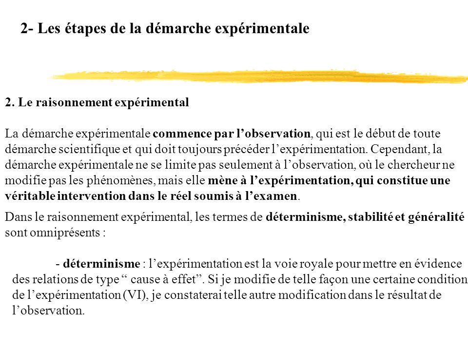 2- Les étapes de la démarche expérimentale 2. Le raisonnement expérimental La démarche expérimentale commence par lobservation, qui est le début de to