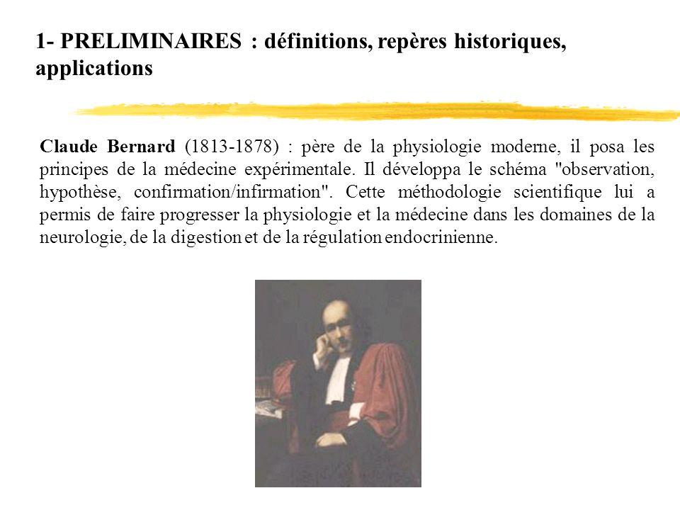 1- PRELIMINAIRES : définitions, repères historiques, applications Claude Bernard (1813-1878) : père de la physiologie moderne, il posa les principes d