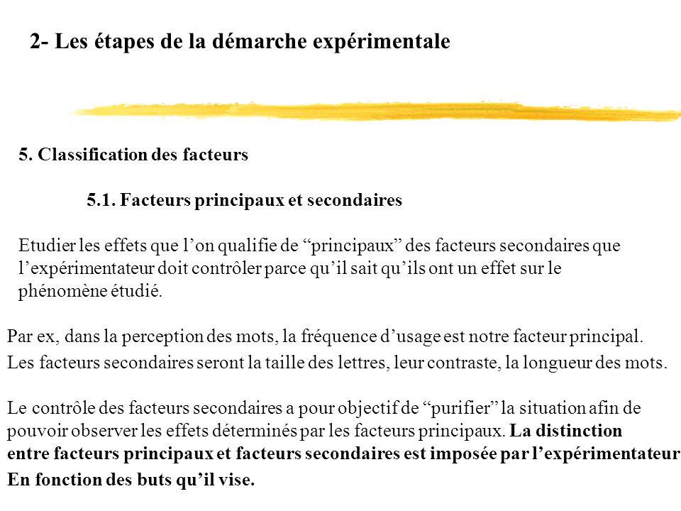 2- Les étapes de la démarche expérimentale 5. Classification des facteurs 5.1. Facteurs principaux et secondaires Etudier les effets que lon qualifie
