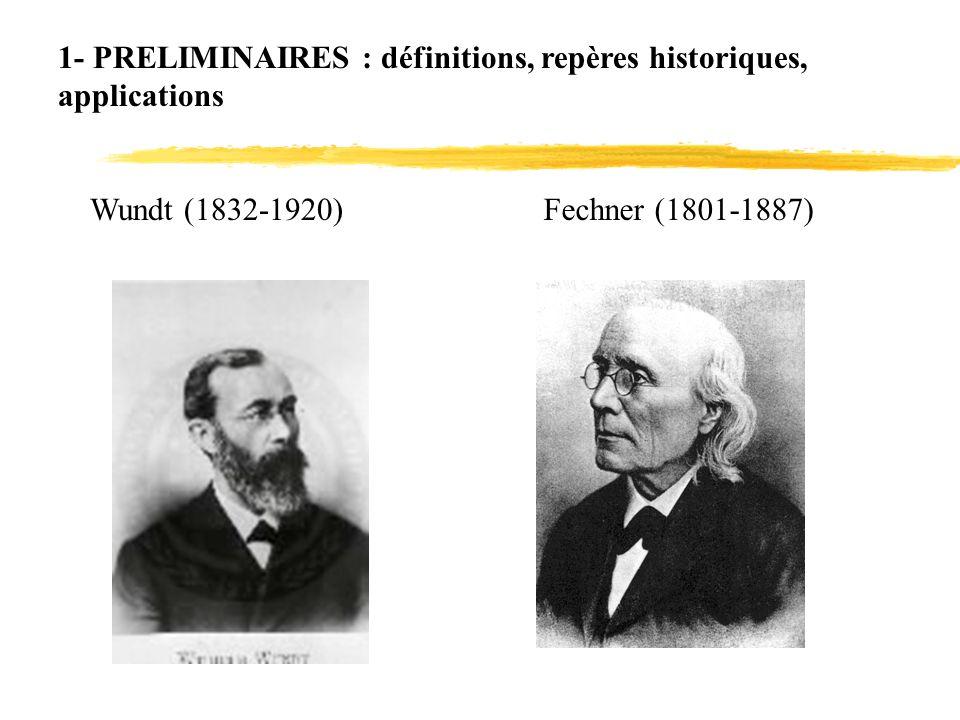 1- PRELIMINAIRES : définitions, repères historiques, applications Wundt (1832-1920)Fechner (1801-1887)