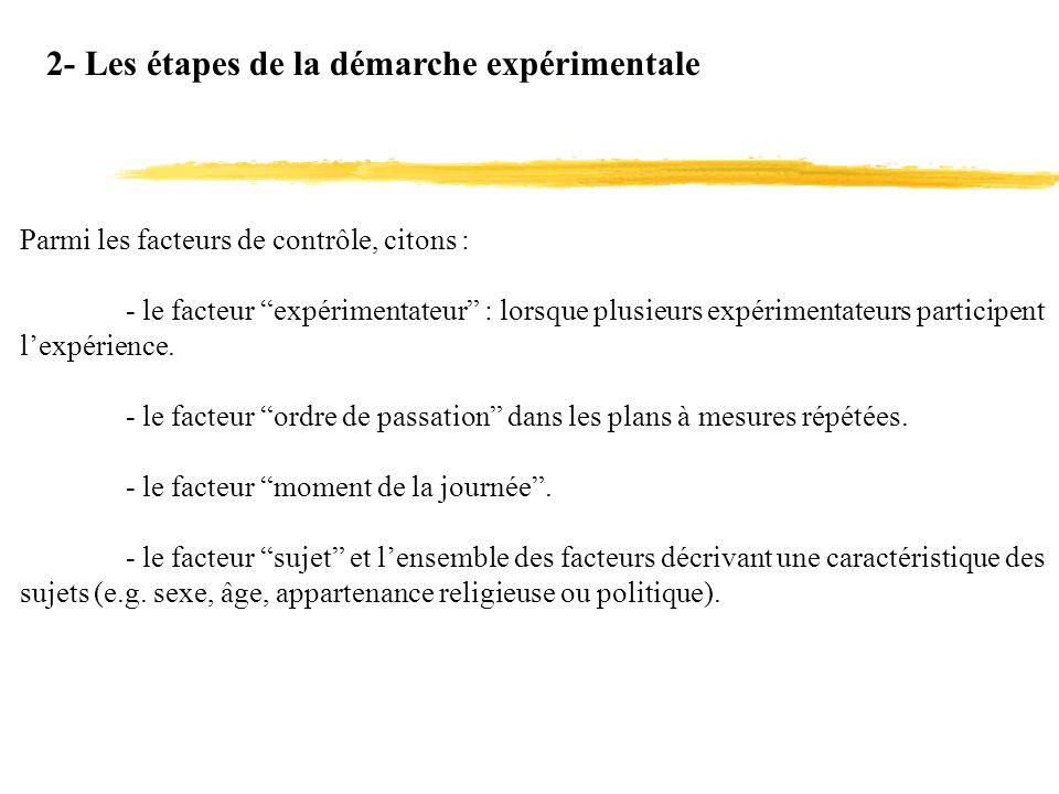 2- Les étapes de la démarche expérimentale Parmi les facteurs de contrôle, citons : - le facteur expérimentateur : lorsque plusieurs expérimentateurs