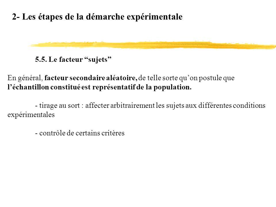 2- Les étapes de la démarche expérimentale 5.5. Le facteur sujets En général, facteur secondaire aléatoire, de telle sorte quon postule que léchantill