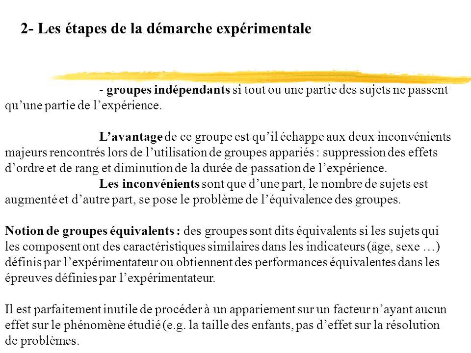 2- Les étapes de la démarche expérimentale - groupes indépendants si tout ou une partie des sujets ne passent quune partie de lexpérience. Lavantage d