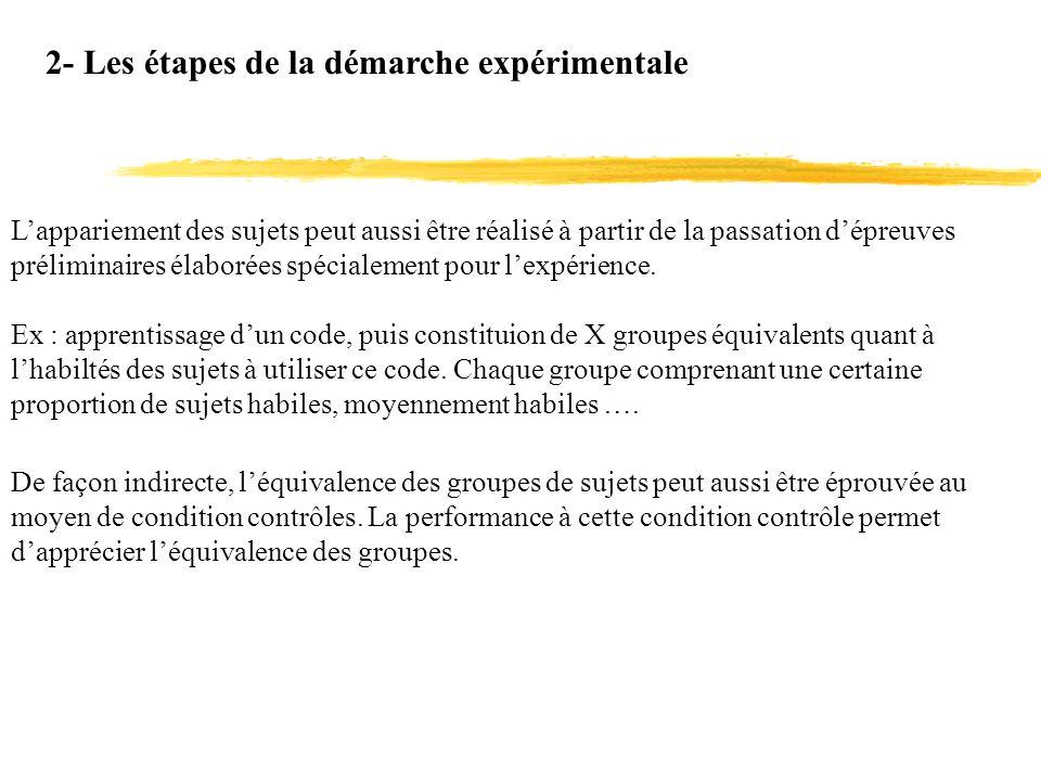 2- Les étapes de la démarche expérimentale Lappariement des sujets peut aussi être réalisé à partir de la passation dépreuves préliminaires élaborées