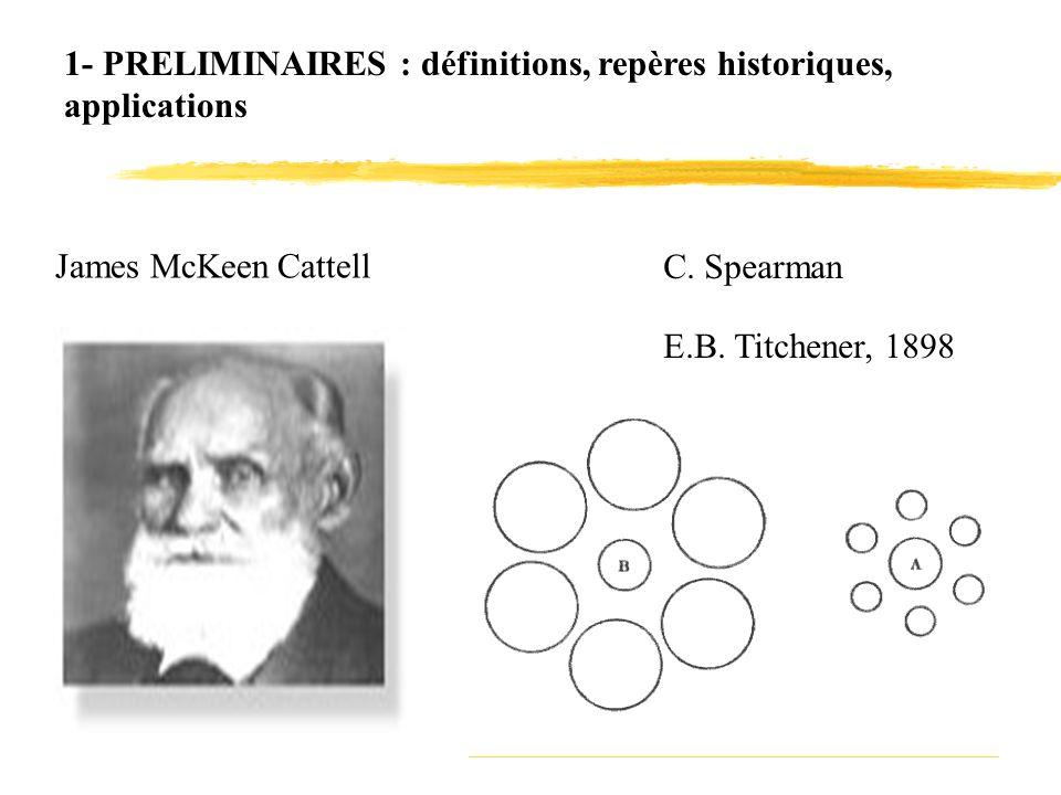 1- PRELIMINAIRES : définitions, repères historiques, applications James McKeen Cattell C. Spearman E.B. Titchener, 1898