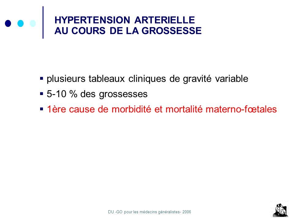 DU -GO pour les médecins généralistes- 2006 HYPERTENSION ARTERIELLE AU COURS DE LA GROSSESSE plusieurs tableaux cliniques de gravité variable 5-10 % d