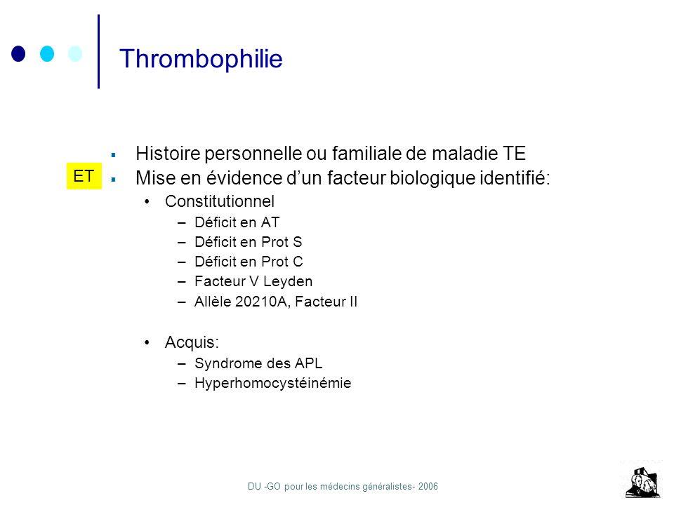 DU -GO pour les médecins généralistes- 2006 Thrombophilie Histoire personnelle ou familiale de maladie TE Mise en évidence dun facteur biologique iden