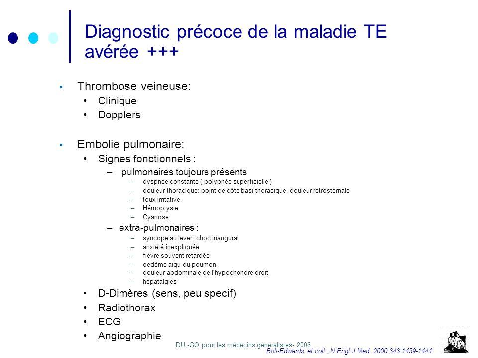DU -GO pour les médecins généralistes- 2006 Diagnostic précoce de la maladie TE avérée +++ Thrombose veineuse: Clinique Dopplers Embolie pulmonaire: Signes fonctionnels : – pulmonaires toujours présents –dyspnée constante ( polypnée superficielle ) –douleur thoracique: point de côté basi-thoracique, douleur rétrosternale –toux irritative, –Hémoptysie –Cyanose –extra-pulmonaires : –syncope au lever, choc inaugural –anxiété inexpliquée –fièvre souvent retardée –oedème aigu du poumon –douleur abdominale de l hypochondre droit –hépatalgies D-Dimères (sens, peu specif) Radiothorax ECG Angiographie Brill-Edwards et coll., N Engl J Med, 2000;343:1439-1444.