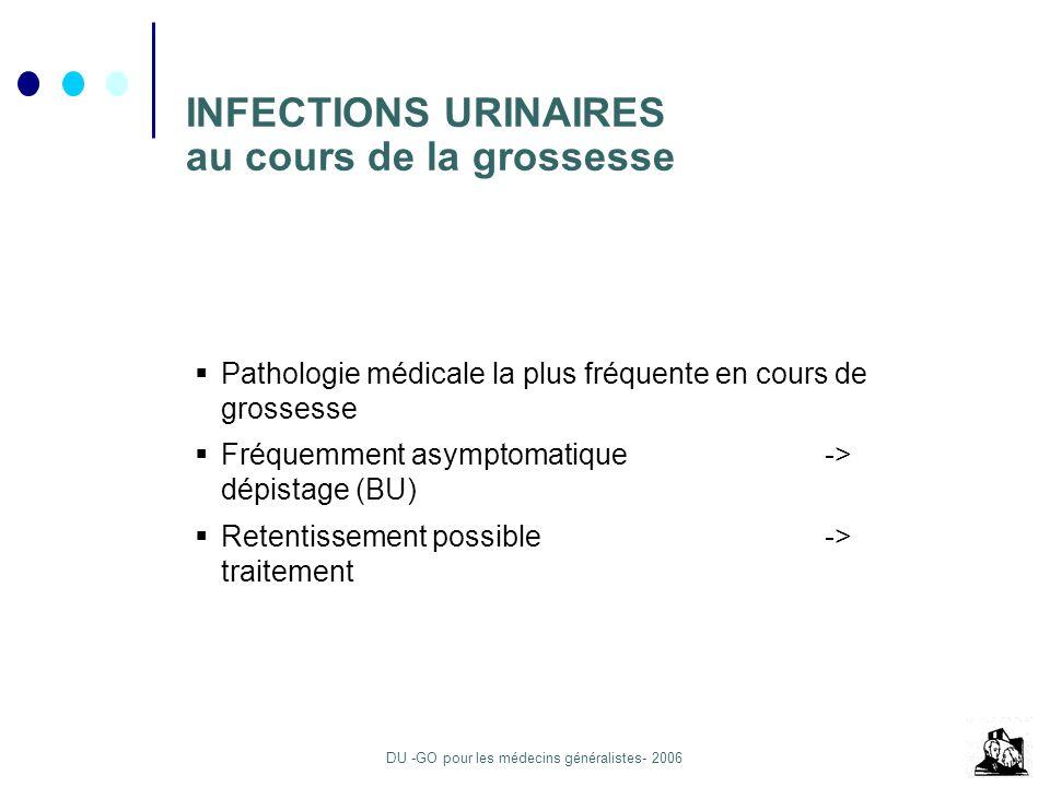 DU -GO pour les médecins généralistes- 2006 INFECTIONS URINAIRES au cours de la grossesse Pathologie médicale la plus fréquente en cours de grossesse Fréquemment asymptomatique -> dépistage (BU) Retentissement possible -> traitement