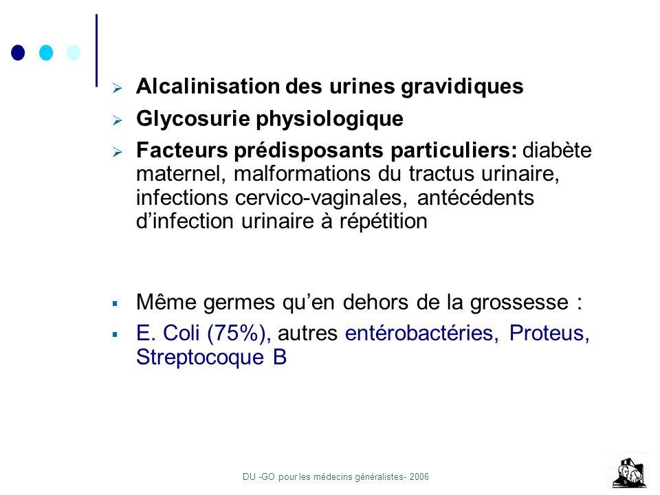 DU -GO pour les médecins généralistes- 2006 Alcalinisation des urines gravidiques Glycosurie physiologique Facteurs prédisposants particuliers: diabèt