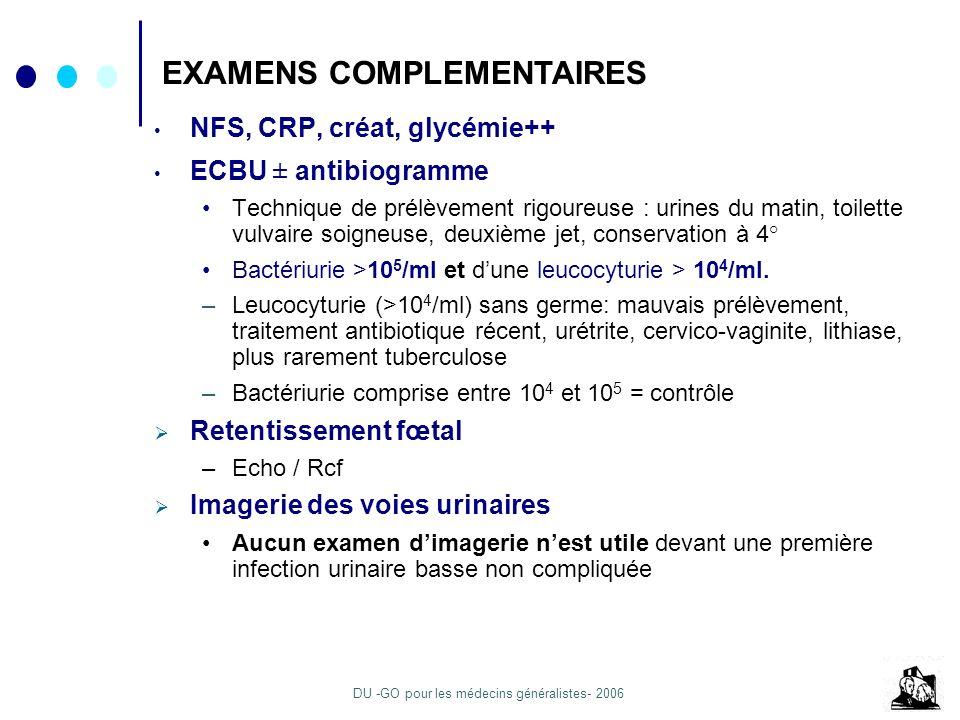 DU -GO pour les médecins généralistes- 2006 NFS, CRP, créat, glycémie++ ECBU ± antibiogramme Technique de prélèvement rigoureuse : urines du matin, to