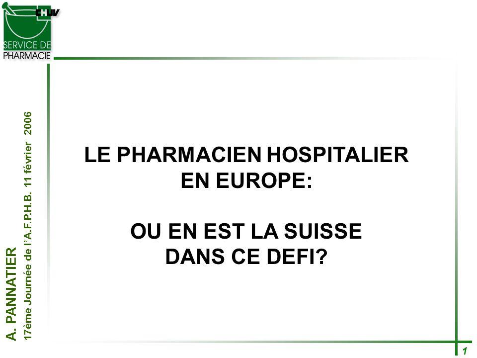A. PANNATIER 17ème Journée de lA.F.P.H.B. 11 février 2006 1 LE PHARMACIEN HOSPITALIER EN EUROPE: OU EN EST LA SUISSE DANS CE DEFI?