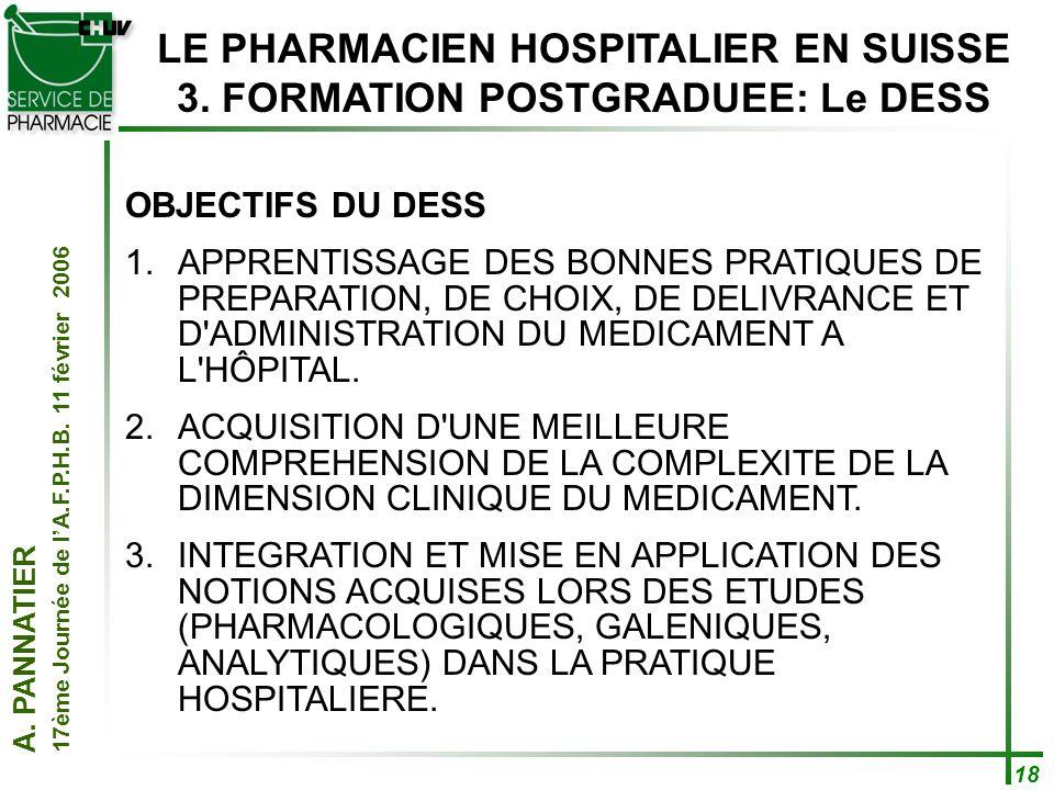 A. PANNATIER 17ème Journée de lA.F.P.H.B. 11 février 2006 18 LE PHARMACIEN HOSPITALIER EN SUISSE 3. FORMATION POSTGRADUEE: Le DESS OBJECTIFS DU DESS 1