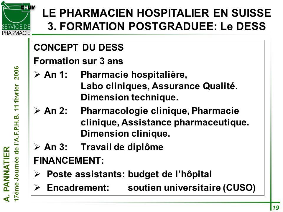 A. PANNATIER 17ème Journée de lA.F.P.H.B. 11 février 2006 19 CONCEPT DU DESS Formation sur 3 ans An 1: Pharmacie hospitalière, Labo cliniques, Assuran