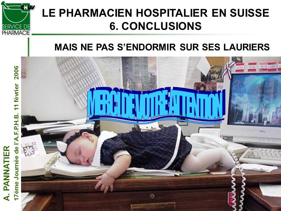 A. PANNATIER 17ème Journée de lA.F.P.H.B. 11 février 2006 28 LE PHARMACIEN HOSPITALIER EN SUISSE 6. CONCLUSIONS MAIS NE PAS SENDORMIR SUR SES LAURIERS