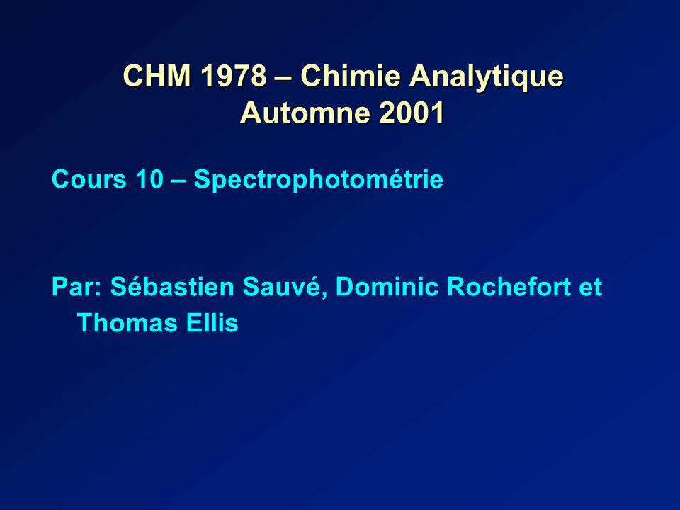 CHM 1978 – Chimie Analytique Automne 2001 Cours 10 – Spectrophotométrie Par: Sébastien Sauvé, Dominic Rochefort et Thomas Ellis