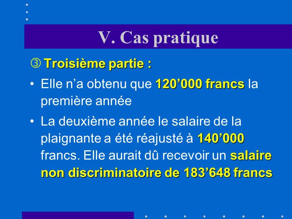 V. Cas pratique Troisième partie : ƒ Troisième partie : La marge derreur est infime (moins de 1%).