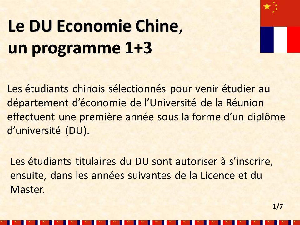 DUEconomie Chine Le DU Economie Chine, un programme 1+3 Les étudiants chinois sélectionnés pour venir étudier au département déconomie de lUniversité de la Réunion effectuent une première année sous la forme dun diplôme duniversité (DU).