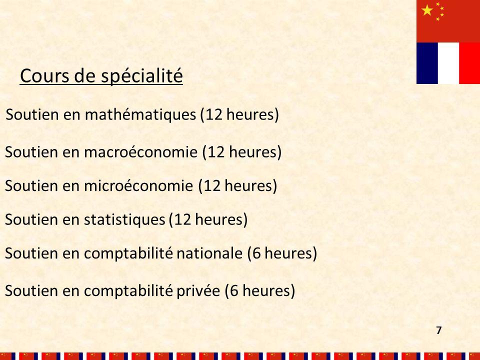 Soutien en macroéconomie (12 heures) Soutien en mathématiques (12 heures) Cours de spécialité Soutien en microéconomie (12 heures) Soutien en comptabilité privée (6 heures) Soutien en statistiques (12 heures) Soutien en comptabilité nationale (6 heures) 7