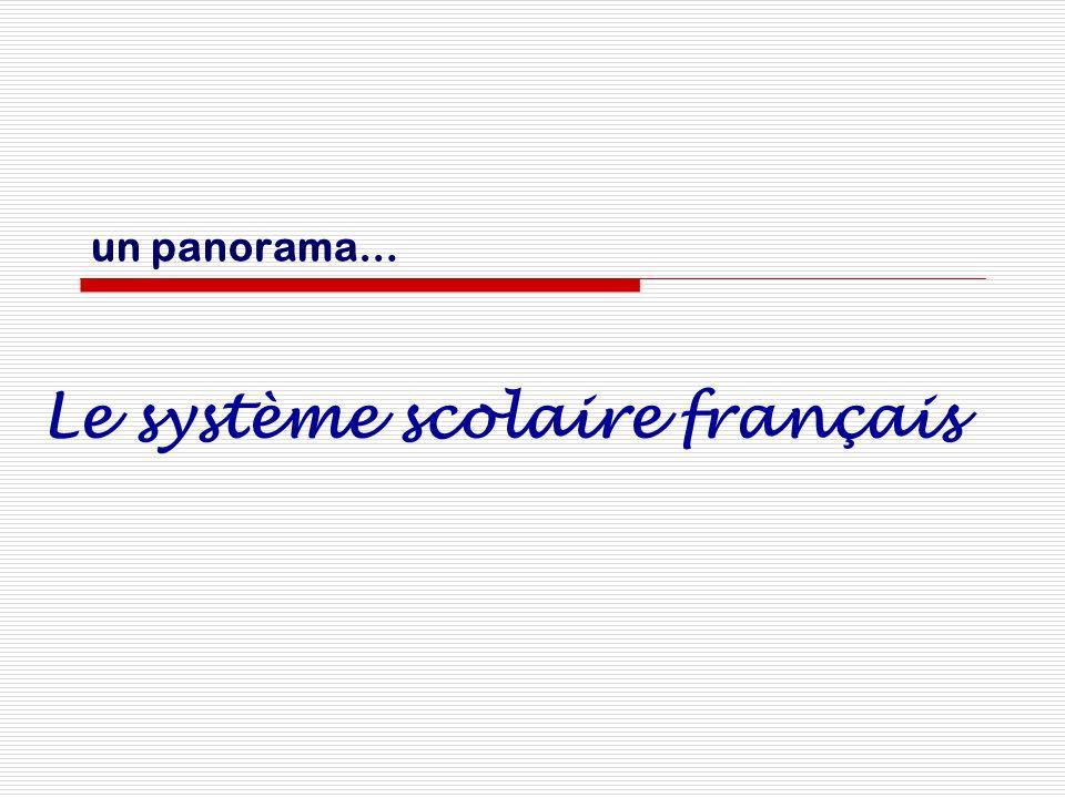 un panorama… Le système scolaire français