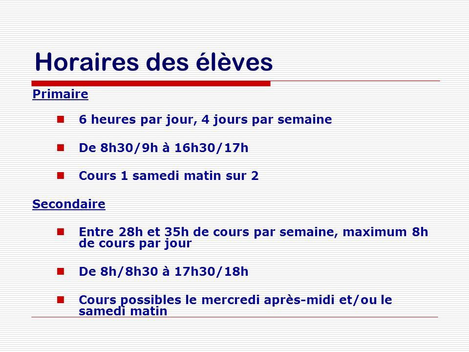 Horaires des élèves Primaire 6 heures par jour, 4 jours par semaine De 8h30/9h à 16h30/17h Cours 1 samedi matin sur 2 Secondaire Entre 28h et 35h de c