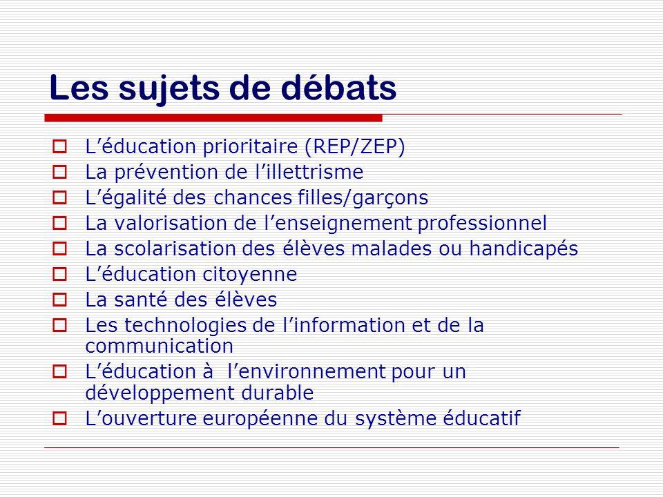 Les sujets de débats Léducation prioritaire (REP/ZEP) La prévention de lillettrisme Légalité des chances filles/garçons La valorisation de lenseigneme