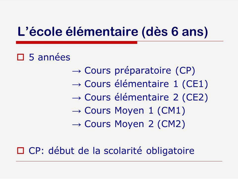 Lécole élémentaire (dès 6 ans) 5 années Cours préparatoire (CP) Cours élémentaire 1 (CE1) Cours élémentaire 2 (CE2) Cours Moyen 1 (CM1) Cours Moyen 2