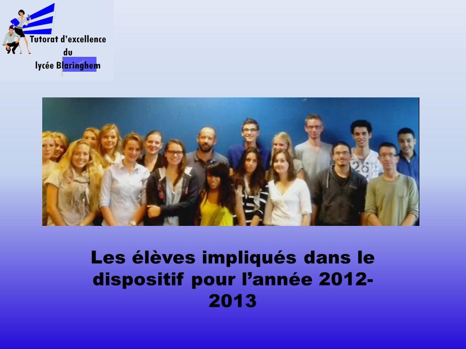 Les élèves impliqués dans le dispositif pour l année 2012- 2013