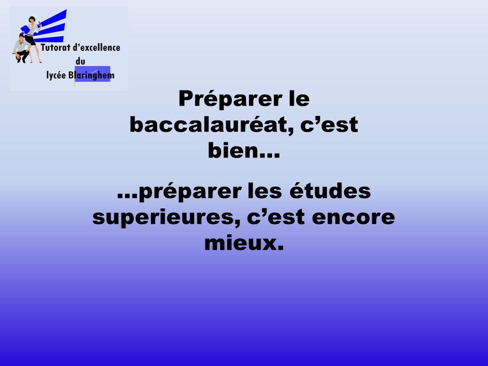 Préparer le baccalauréat, cest bien… …préparer les études superieures, cest encore mieux.